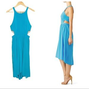 Karen Zambos cutout ruched high low chiffon dress
